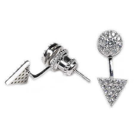 Triangle Pavé Earring Jacket -  Emma Winston - White Gold - 4