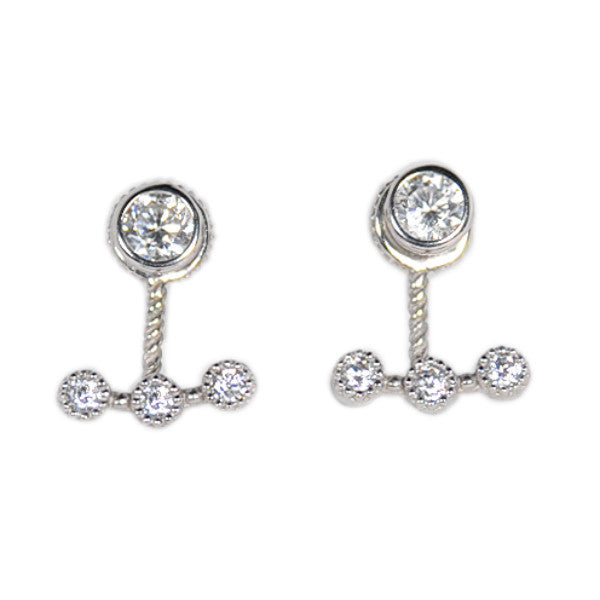 Three Stone Earring Jacket with Bezel Set Stud -  Emma Winston - White Gold - 1