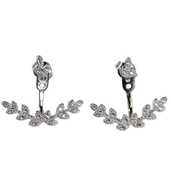 Leaf Earring Jacket -  Emma Winston - White Gold - 5