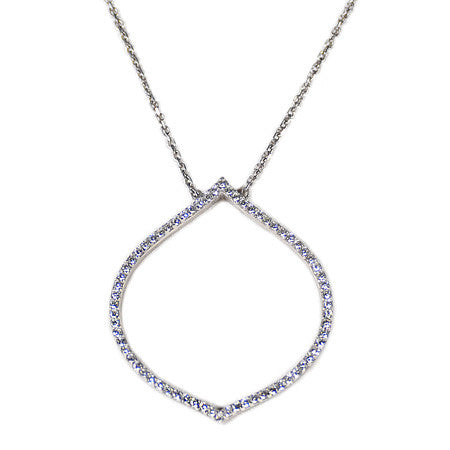 Drop Pavé Necklace -  Emma Winston - White Gold - 1
