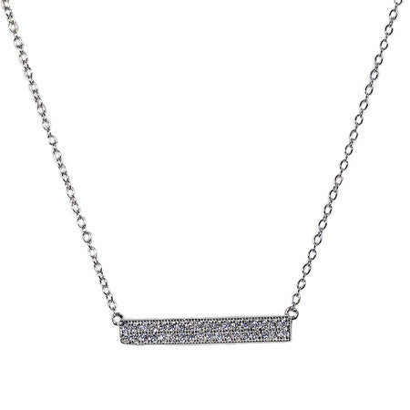 Pavé Bar Necklace -  Emma Winston - White Gold - 2