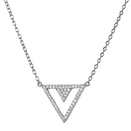Triangular Pavé Necklace -  Emma Winston - White Gold - 2