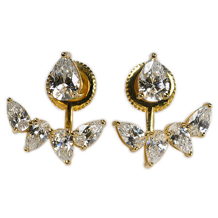 Marquise Stud and Earring Jacket -  Emma Winston - Yellow Gold - 4