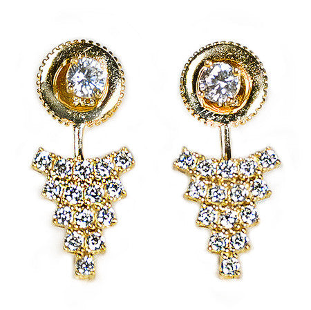 Triangular Cluster Earring Jacket -  Emma Winston - Yellow Gold - 3
