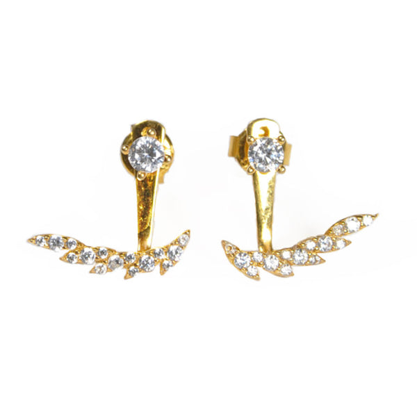 Feathered Earring Jacket -  Emma Winston - Yellow Gold - 1