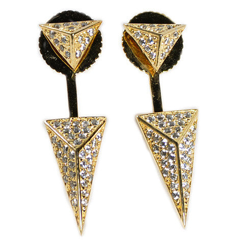 Pyramidal Pavé Earring Jacket -  Emma Winston - Yellow Gold - 3
