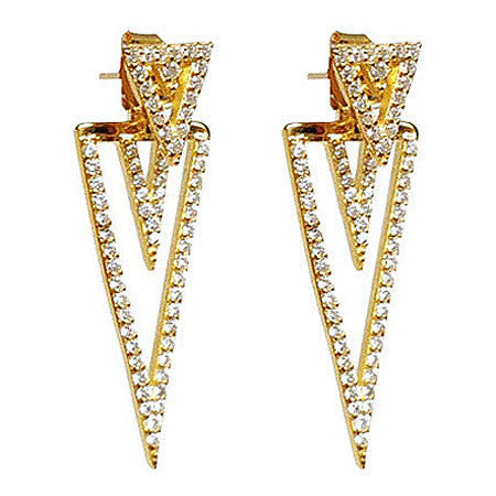 Triangular Pavé Earring Jacket -  Emma Winston - Yellow Gold - 1