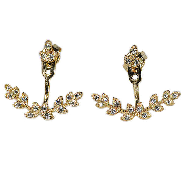 Leaf Earring Jacket -  Emma Winston - Yellow Gold - 2