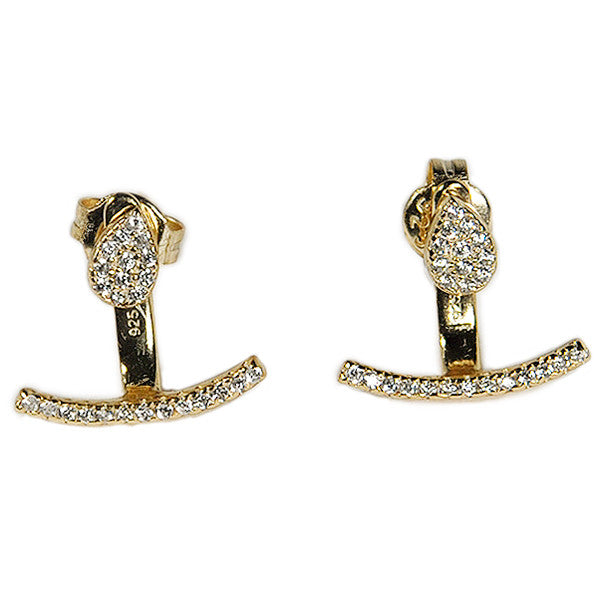 Micro Pavé Earring Jacket -  Emma Winston - Yellow Gold - 3