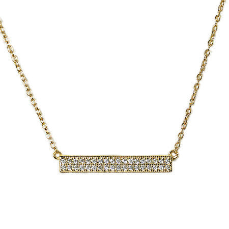 Pavé Bar Necklace -  Emma Winston - Yellow Gold - 1