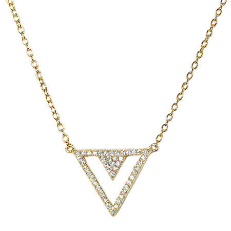 Triangular Pavé Necklace -  Emma Winston - Yellow Gold - 1