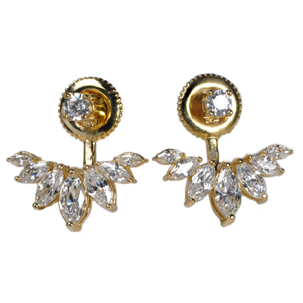 Round Stud and Marquise Earring Jacket -  Emma Winston - Yellow Gold - 4