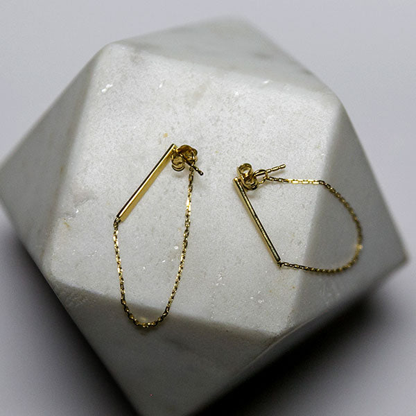 gold bar earrings with chain