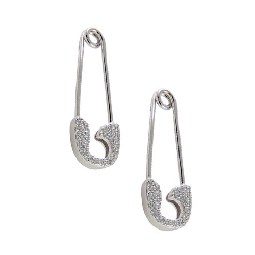 diamond stud safety pin earrings