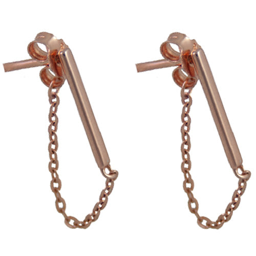 Small Rose Gold Bar and Chain Earring