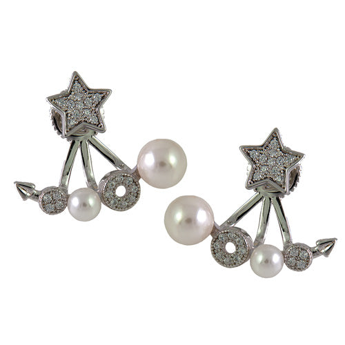 white gold and pearl earring jackets