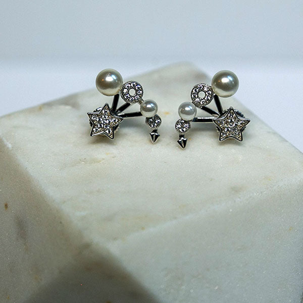 pearl and star earrings