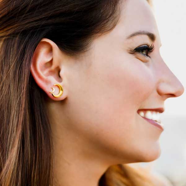 gold crescent moon earring studs