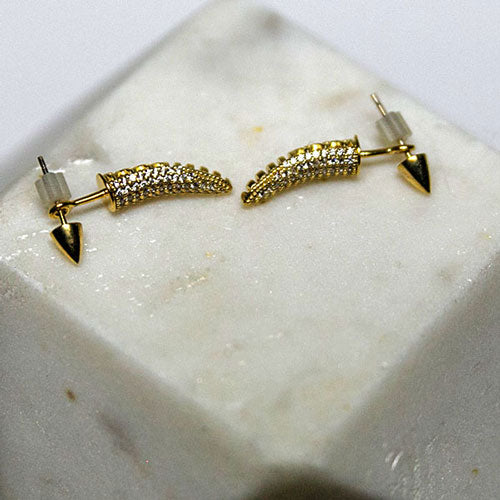 Gold Spike and Micro Pavé Earring Jackets