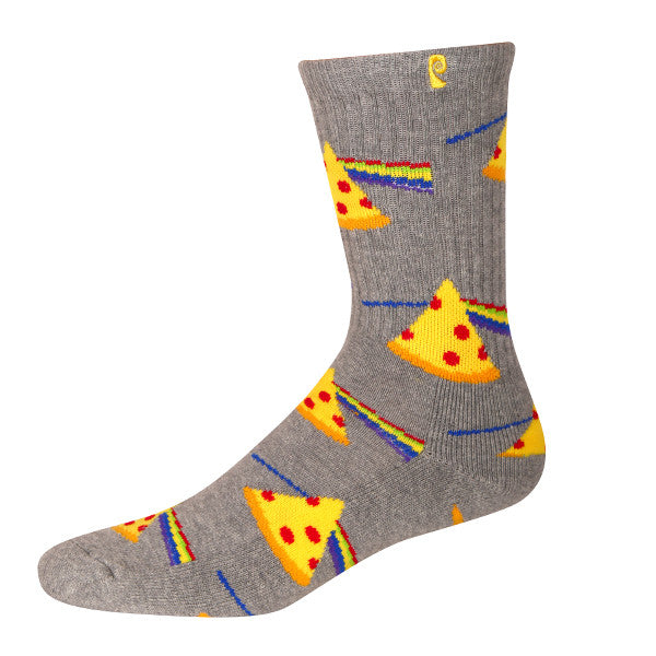 DARK SIDE OF THE PIZZA - HEATHER GREY/YELLOW
