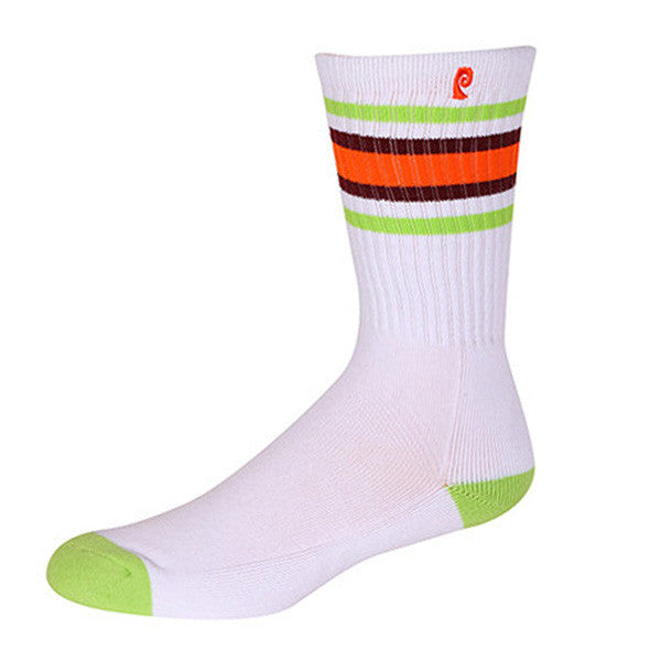 STRIPES PSOCK - WHITE/LIME/ORANGE