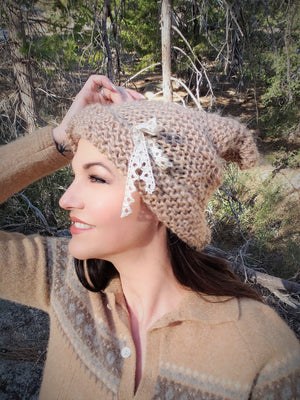 """Wood Elf"" Handknit Beanie Hat in Light Taupe Brown, with Vintage Lace Bow"