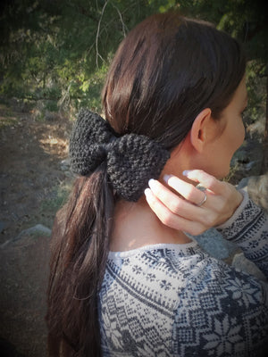 "Handknit ""Midnight"" Black Color Hair Bow with Vintage Lace"