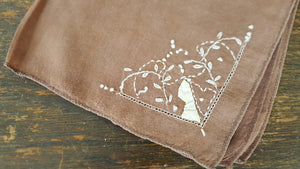 Vintage Handkerchief In Brown Cotton Embroidered With White Vines And Leaves