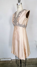 Vintage 1960s Pink Sik Beaded Party Dress By Seaton Enterprises
