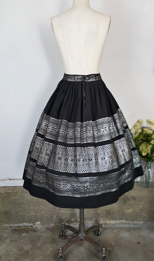 Vintage 1950s Black Full Circle Skirt With Silver Thread Embroidery