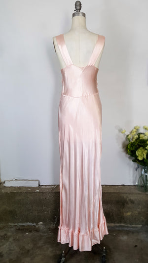 Vintage 1940s 1950s Pink Satin Nightgown With Ivory Lace Trim