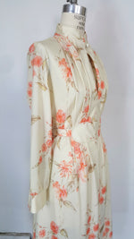 Vintage 1970s Floral Print Dress With Belt