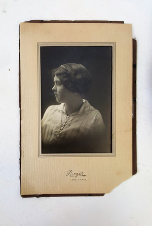 Vintage 1920s Photograph In Black And White Of A Young Woman