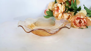 Vintage Marigold Carnival Glass Fruit Bowl With Ruffled Edge