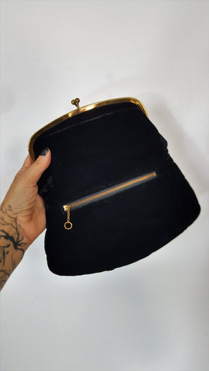 Vintage 1950s Black Velvet Clutch Purse With Black Satin Lining