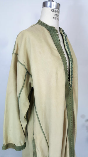 Vintage Hollywood Costume Long Wool Coat With Pockets In An Eastern Or Asian Style