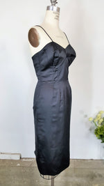 Vintage 1950s Wiggle Dress With Bullet Bra And Matching Jacket  In Black Satin