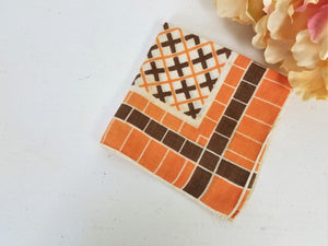 Vintage Orange And Brown Cotton Hanky