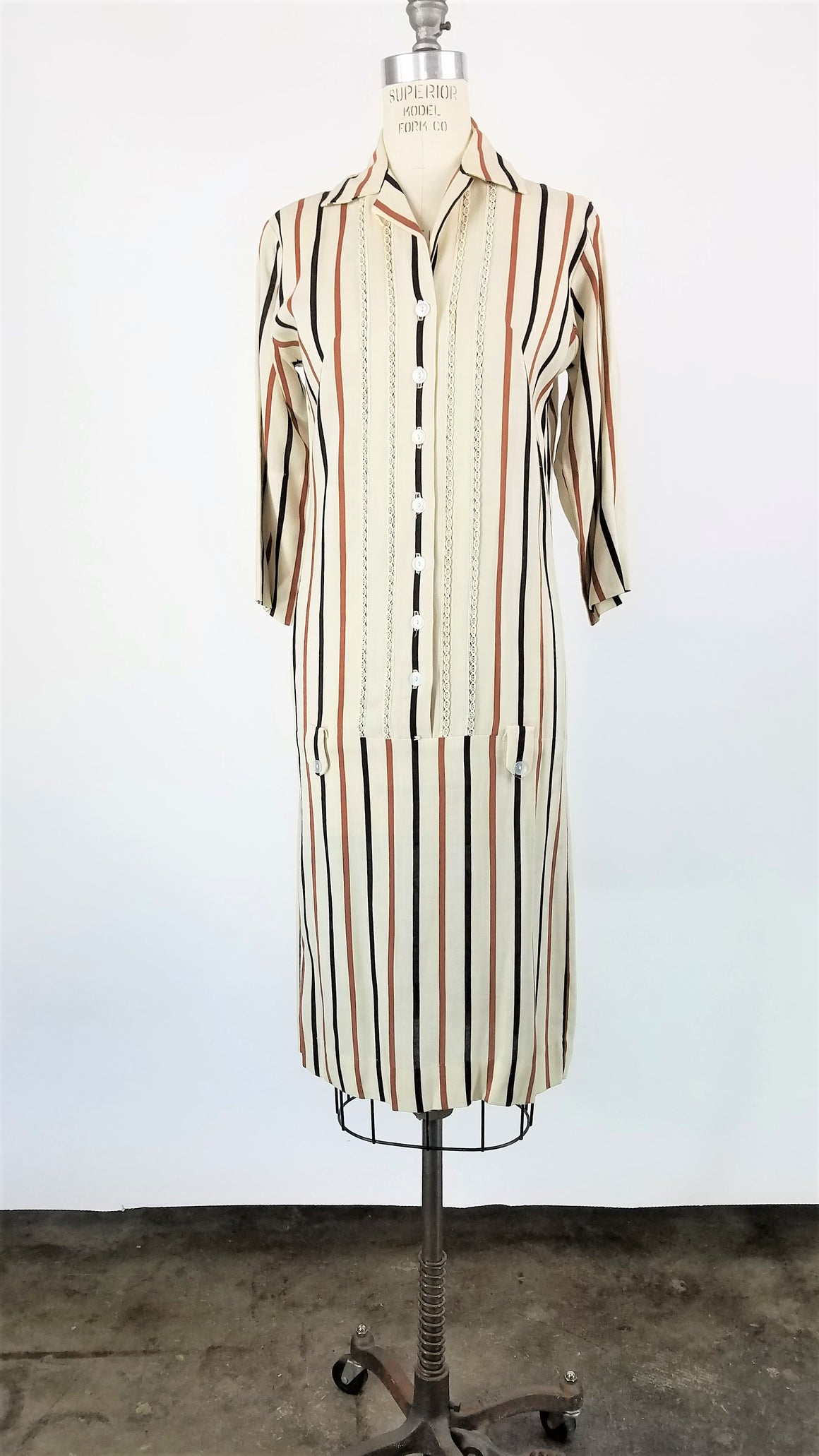 Vintage 1960s Striped Dress With Drop Waist