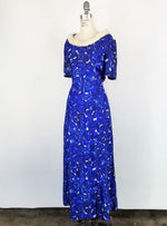 Vintage 1960s Blue And White Leaf Print Dress With Faux Fur Collar
