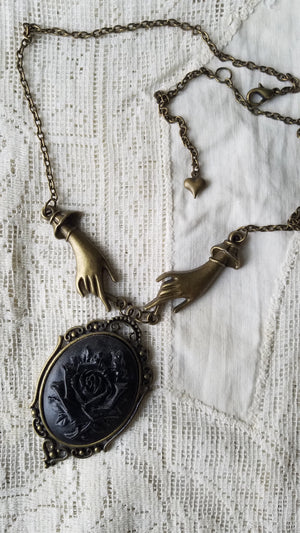 Black Rose Cameo Necklace by Dark Cage Designs