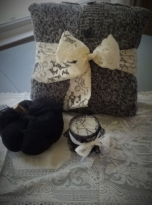 Belted Lace Sweater Pillow with Buttons