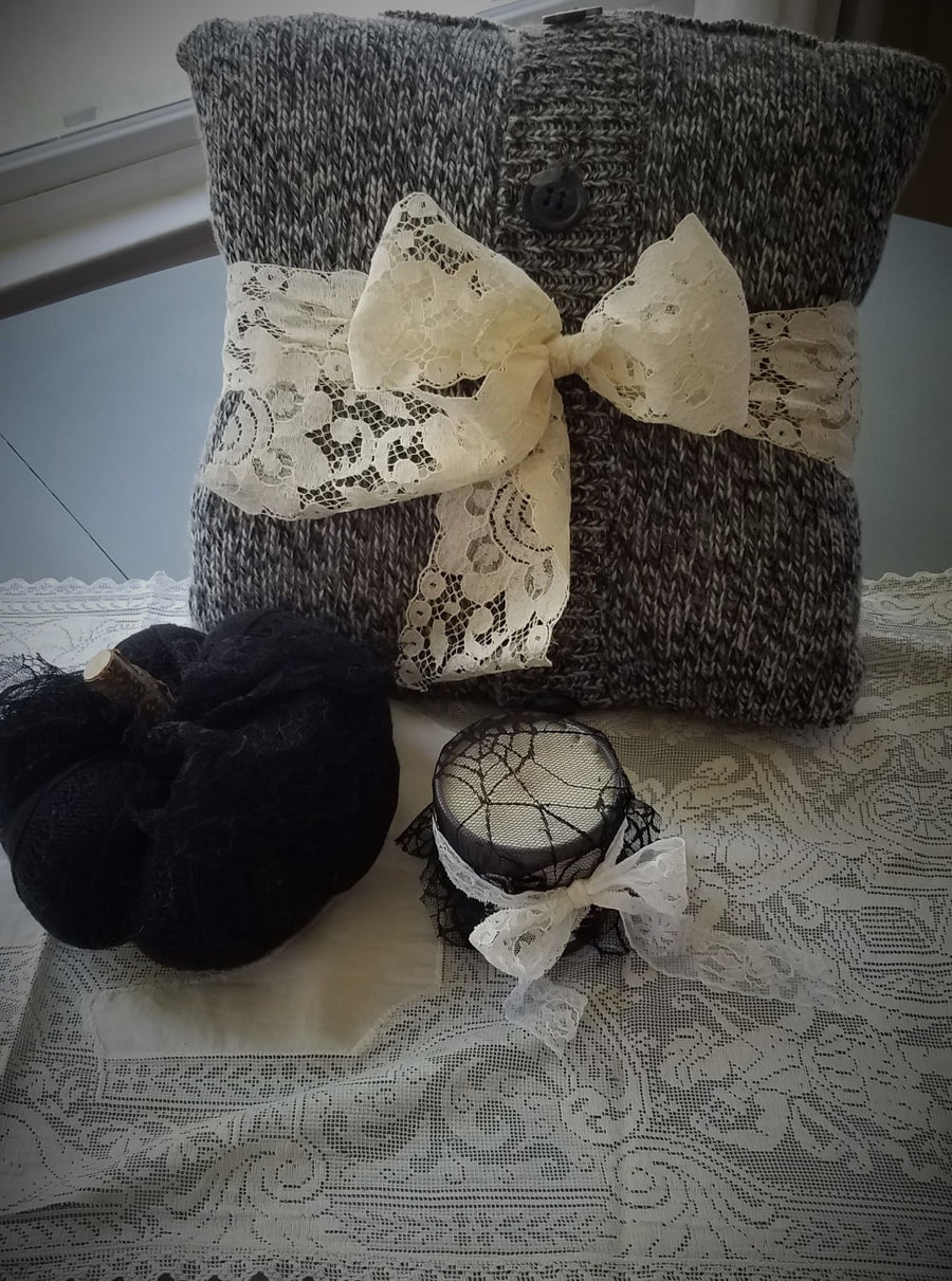 Pumpkin Pillow in Black, Embellished with Black Lace and Wooden Stem