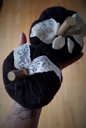 Knit Mini Pumpkin Pillow Pouf in Black with Ivory Lace and Wooden Stem