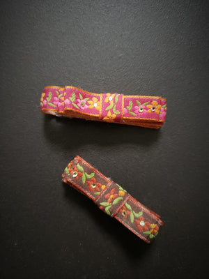 Vintage 1990s Folksy Ribbon Covered Hair Clips, Set of Two
