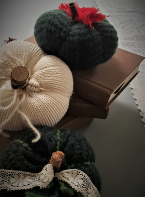 Green Knit Pumpkin PIllow Pouf with Vintage Lace and Wooden Stem