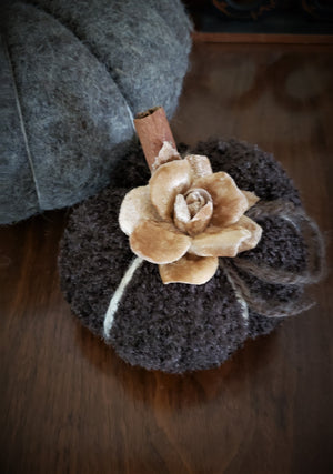 """Milk Chocolate"" Brown Knit Pumpkin Pillow Pouf, Cinnamon Stick Stem"