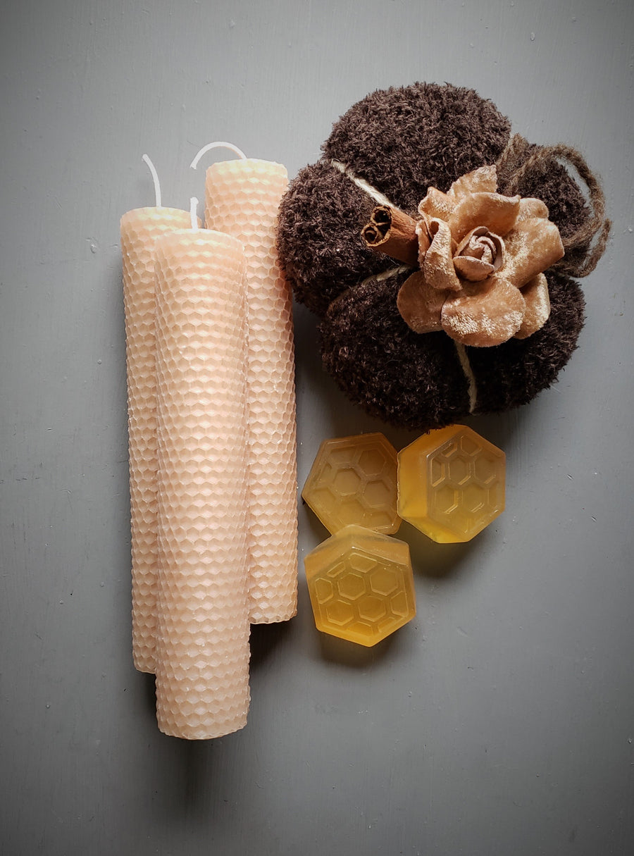 """The Bees Knees"" Handmade Beeswax Candle and Honey Soap Set"
