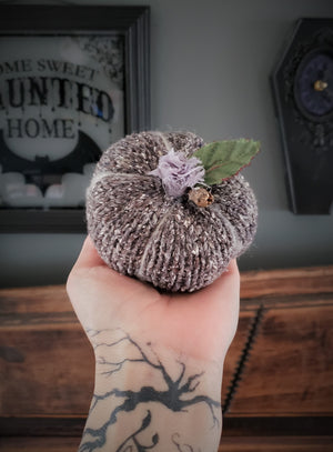 Mini-est Pumpkin Pillow Pouf with Tattered Flower and Wooden Stem