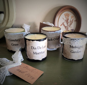 """Cemetary Grass"" Soy Candle With Hand Torn Label, Lynden Blossom"